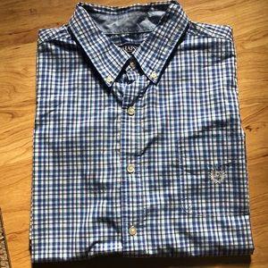CHAPS Men's Short Sleeve Plaid Button Down Shirt